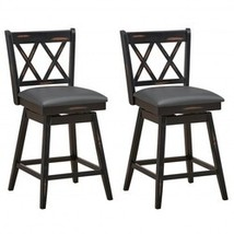 2 Pieces 24 Inches Swivel Counter Height Barstool Set with Rubber Wood L... - $309.42