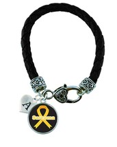 Custom Sarcoma Awareness Black Leather Bracelet Jewelry Initial or Family Charm - $14.24