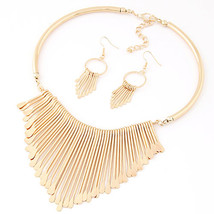 gold Fashion Europen Bijoux Jewelry Set Trendy Chunky Tassel Necklaces &