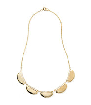 Ann Taylor LOFT Necklace Statement Golden Clear Crystal Half Dish Chain New - $24.95