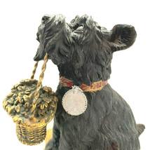 Vintage Black Scottie Schnauzer Dog Holding A Gold Basket Of Flowers - $47.52