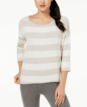 Calvin Klein S NWT $59 Performance Stretch Striped Boat-Neck Top Beige Z... - $17.81