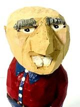Hand Carved Wooden Older Bald Buck Tooth Man Figure - $35.00