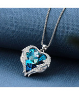 18K White Gold Filled Heart BLUE BERMUDA Chain Necklace WINGS ANGEL GUAR... - $7.83
