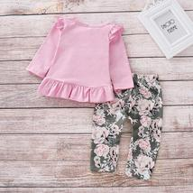2pcs Merry Chirstmas Baby Girls Clothes Set Floral Print Long Sleeve Ruffle Tops image 4
