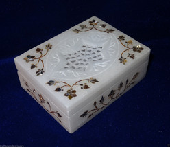 "4""x3""x1.25"" White Marble Jewelry Box Handmade Paua Shell Marquetry Inlay... - $60.90"