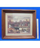 Robert Lebron Print Fishing Village Wood Framed Cottage Lighthouse Vintage - $47.51