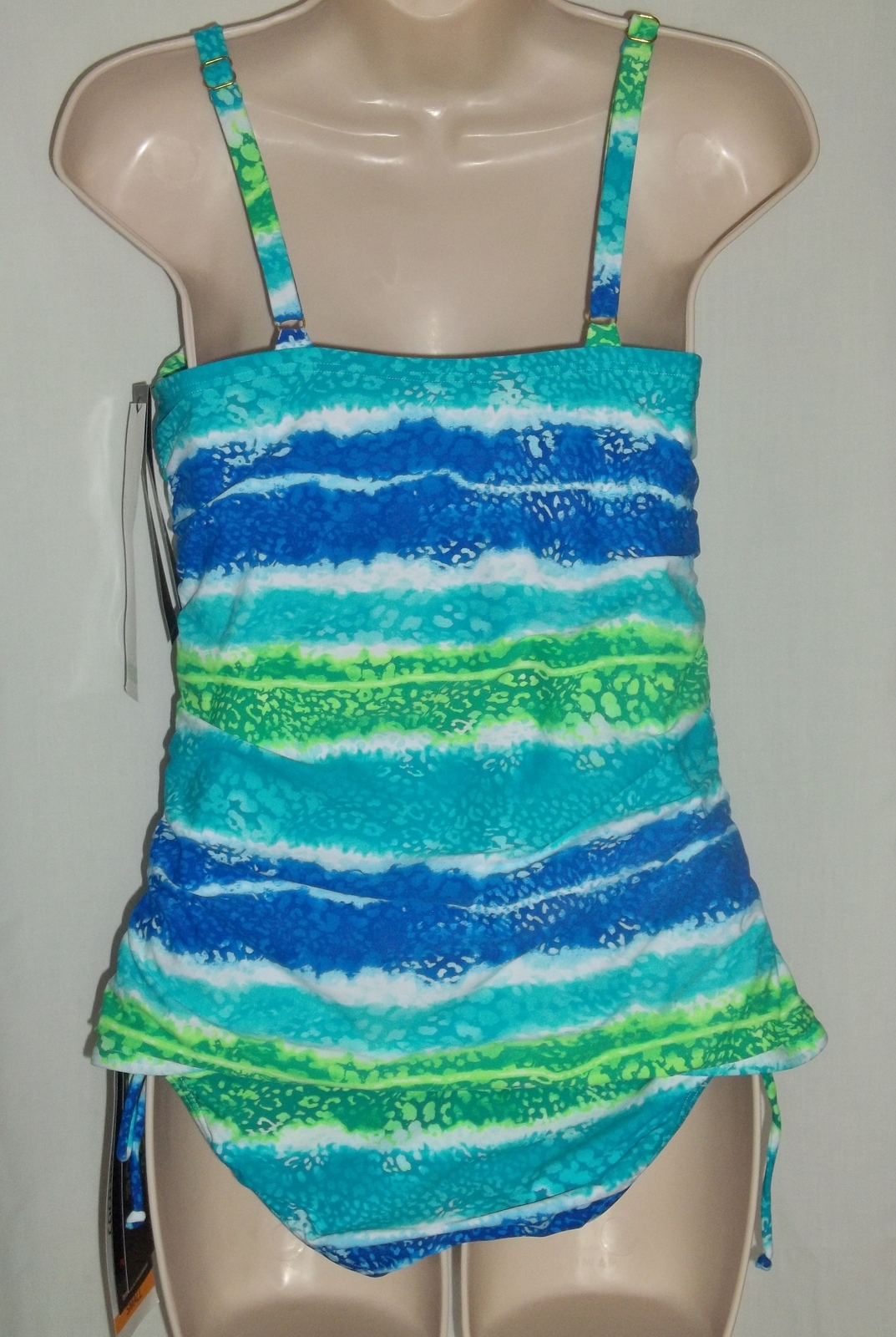 COCO REEF BLUE SEA TANKINI & CINCHED BOTTOM,34C/SMALL