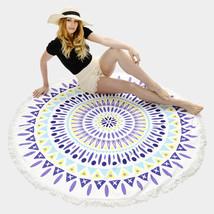 Round Beach Towel Purple Ethnic Print Poncho with Tassel Trim 335734 - $31.01 CAD