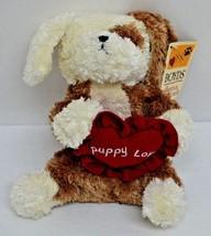 "Boyds Puppy Love Dog Plush Red Heart Pillow Brown Cream Bean Bag 7"" NEW - $14.49"