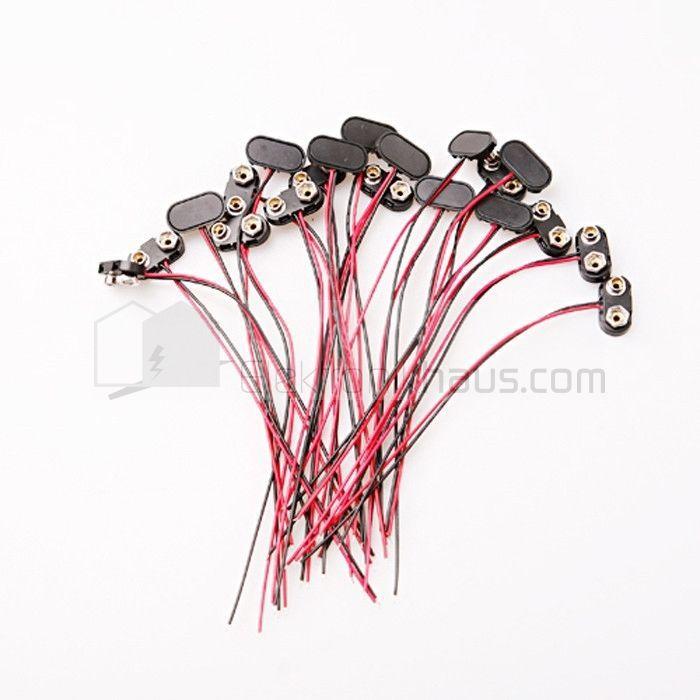 2x Batteriehalter für 9V Blockbatterie T-Form mit 150mm Anschlusskabel rot/sw