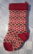 "HAND CROCHETED HEAVY KNIT WOOL CHRISTMAS STOCKING GEOMETRIC Vintage 19"" ... - $18.99"