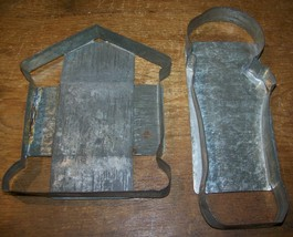 LOT 2 ANTIQUE LARGE GERMAN COOKIE BISCUIT CUTTER CANDY MOLD HOUSE FIGURE - $24.74