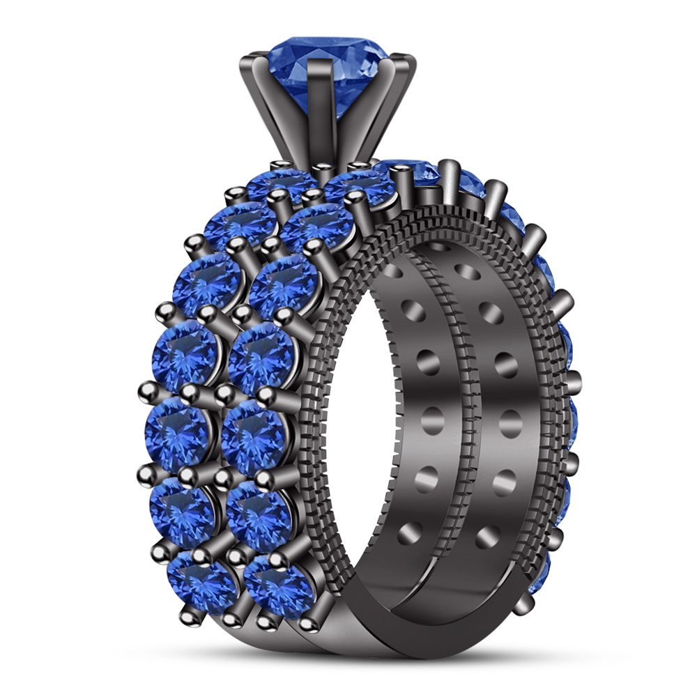 Primary image for Womens Designer Bridal Blue Sapphire Ring Set 14k Black Gold Finish 925 Silver