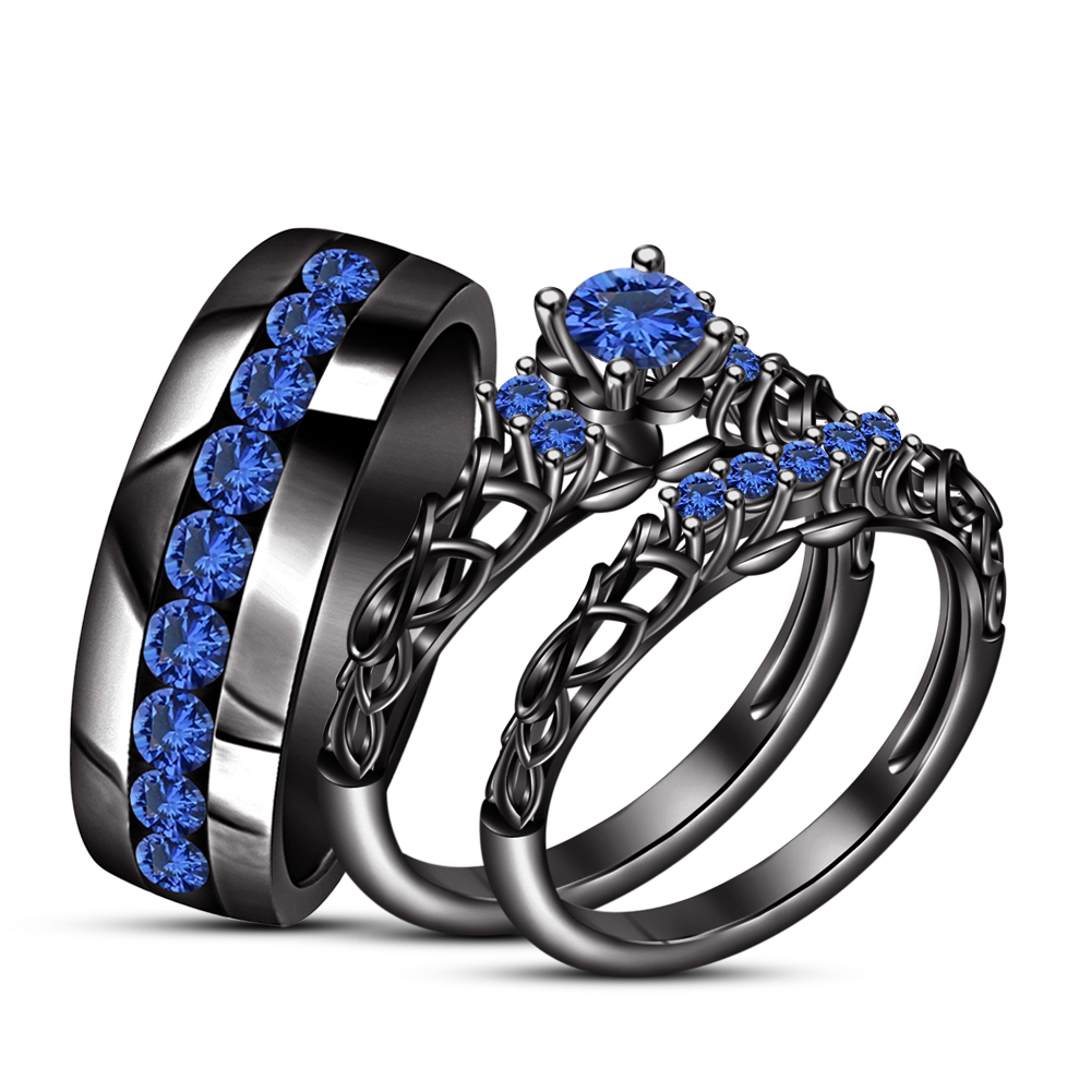 14k Black Gold Finish 925 Solid Silver His Her Wedding Anniversary Trio Ring Set - $164.99