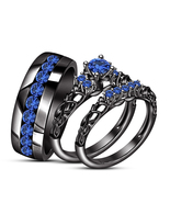 14k Black Gold Finish 925 Solid Silver His Her Wedding Anniversary Trio Ring Set - $138.59