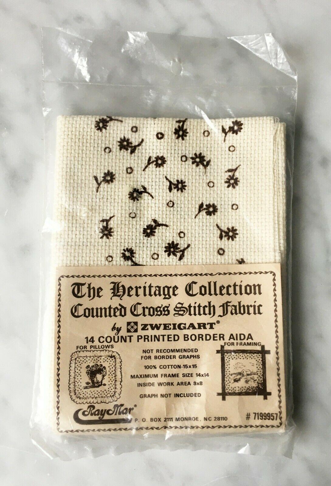 "Zweigart 14 Count Printed Border Aida Ivory/Brown Cross Stitch Fabric 15"" x 15"" - $8.50"