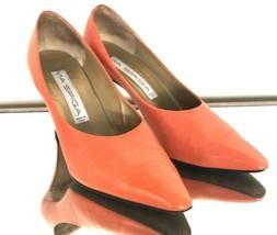 Via Spiga Italy Orange Soft Leather Heels Women's Shoes 9M - $45.82