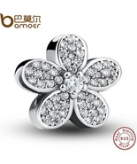 Buy 925 Sterling Silver Dazzling Daisy Plant Charm Fit Bracelet With Cle... - $41.99