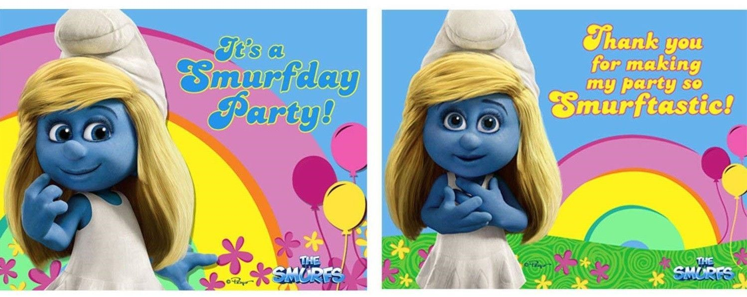 NEW  IN PACKAGE SMURFS 8 INVITATIONS & THANK YOU NOTES PARTY SUPPLIES