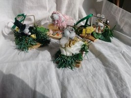 Vintage lot of 4 weird unique fancy mice& traps chirstmas holiday ornaments - $5.00