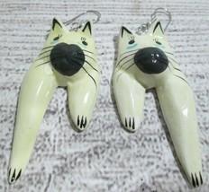 Vintage Cat Earrings Hand Painted Wooden Drop/Dangle Cream Jewelry Feline  - $12.86