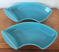 Pair Vintage Mid Century California Pottery L44 Turquoise Leaf Curved USA Dishes - $100.00