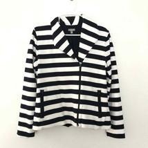 Talbots M Medium Striped Long Sleeve Zip Up Blazer Jacket White - $24.89