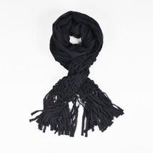 Yves Saint Laurent Black Silk Lightweight Woven Trim Fringe Scarf - $125.05 CAD