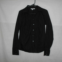 Calvin Klein Womens Black Cotton Business Casual Shirt Long Sleeve Women... - $9.89