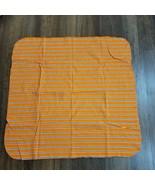 Gerber Cotton Flannel Blanket Orange Blue White Stripe Receiving Swaddle... - $24.74