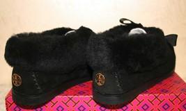Tory Burch Aberdeen Slipper Moc Style Black Suede/Shearling size 8.5 Golden Logo - $148.49