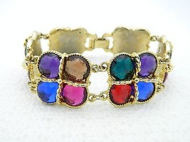 VTG Styled Gold Tone Multi Colored Plastic Rhinestone Clasp Bracelet - $14.85