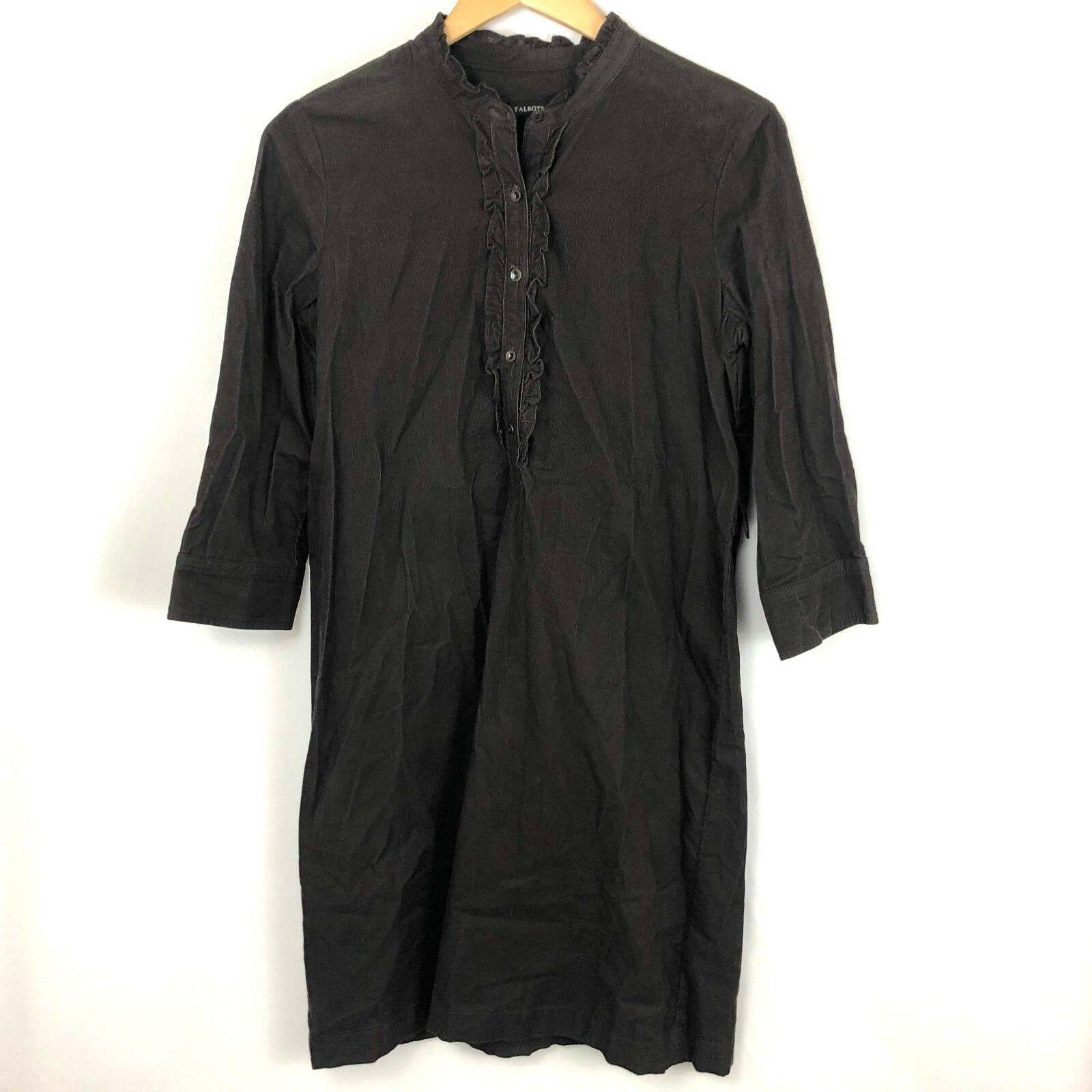 Talbots Sz 4 Corduroy Shirt Dress Brown Espresso Buttons Cotton Blend Ruffle