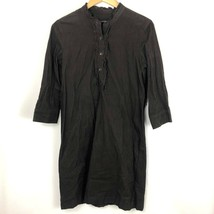 Talbots Sz 4 Corduroy Shirt Dress Brown Espresso Buttons Cotton Blend Ru... - $12.86