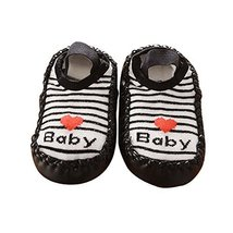 Black Strip Simple Design Thicken Short Style Babies Socks, 13 cm