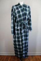 LL Bean M Blue Green Tartan Scotch Plaid Cotton Flannel Belted Robe 502585 - $32.30