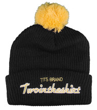 T.I.T.S. Brand Mens Black Yellow Sports Script Pom Beanie Skull Cap Winter Hat image 1