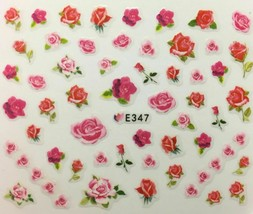 Nail Art 3D Decal Stickers Pink & Red Roses E347 - $3.19