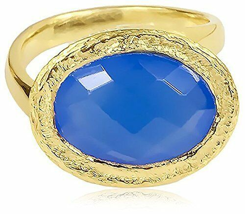 Saachi Gold-Tone Oval Blue Chalcedony oval Asymmetrical Ring, Size 6