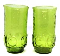 Mid Century Indiana Glass GREEN Thumbprint Set of 2 Tumblers Water Tea G... - $16.82