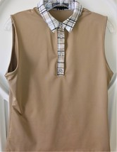 Stylish Women's Golf & Casual Tan Sleeveless Collar Top with Swarovski B... - $29.95