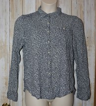 Womens Navy White Floral Print Maurices Long Sleeve Shirt Size XL very good - $6.92