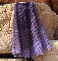 Purple Layered Tulle Midi Skirt A-line High Waisted Tulle Ruffle Skirt image 9
