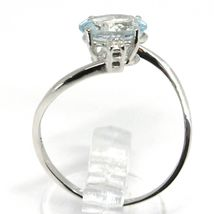 18K WHITE GOLD BAND RING AQUAMARINE 1.25 OVAL CUT & DIAMONDS, MADE IN ITALY image 4