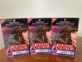 3x Schwarzkopf Keratin Color Anti-Age Permanent Hair Dye 4.7 Bordeaux Red - $34.64