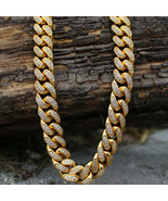 Men's Hip Hop Iced Out Diamond Gold Miami Cuban Link Chain - $139.99+