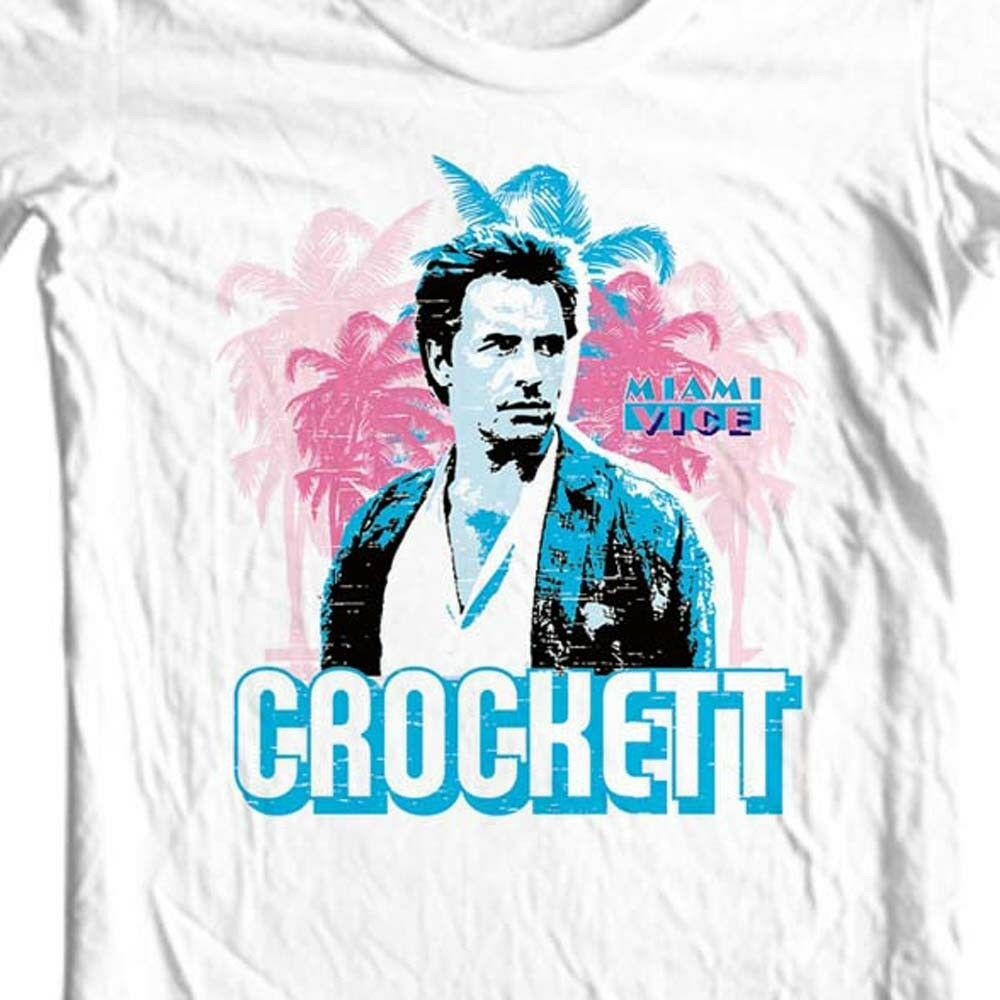 Miami Vice Crockett T-shirt Free Shipping 1980's retro TV show cotton tee NBC223