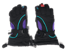 Head Junior Jr Black Purple Teal Insulated Ski Snowboard Winter Gloves M/6-10