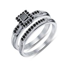 Women's 925 Silver 14K White Gold Plated 2 PCS Engagement Bridal Ring Set - $79.55